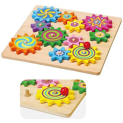 New Wooden Spinning Gears & Cogs Baby Play Activity Puzzle Wood Toy Set
