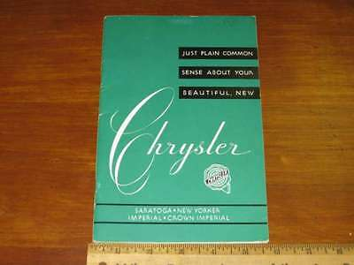1951 Chrysler New Yorker Imperial Owners Manual NOS