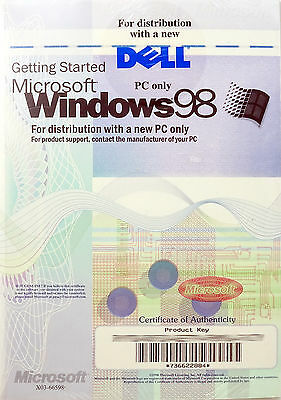 Microsoft WINDOWS 98 Operating System CD Full Version w/ License Key SEALED New