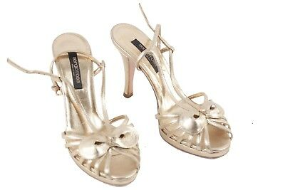 Authentic SERGIO ROSSI Golden Leather SANDALS Shoes HEELS PUMPS Size 36