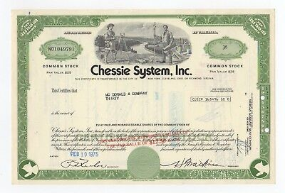 Chessie System, Inc. Stock Certificate