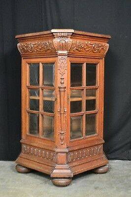 Antique French Display China Cabinet Rare 3 Sided Model Oak