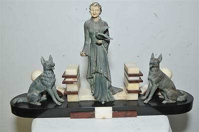 """Nice French Art Deco Statue of Woman and 2 Dogs, Marble Base 23"""" wide x 13"""" Tall"""
