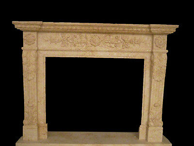 Hand Carved Marble Fireplace in Egyptian Beige, French Simple Design