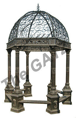 Cast Iron Gazebo with 6 Corinthian Capitals, Wrought Iron Dome and Bench Seating