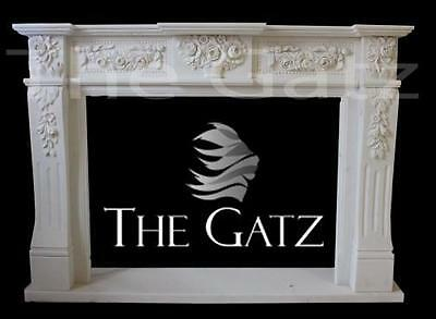 Hand Carved White Marble Fireplace Mantel with Beautiful Rose Detail