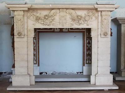 Hand Carved Marble Fireplace Mantel Floral & Brick Style Carvings, Beige