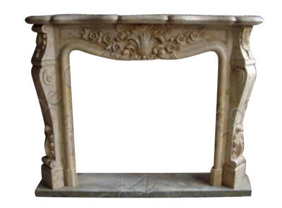 French Style Marble Fireplace Mantel in Beige #3969