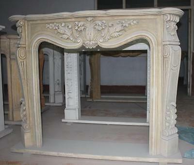 Classic French Design Hand Carved Marble Fireplace Mantel, Acanthus Reliefs and