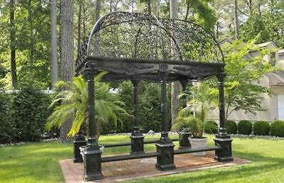 Garden Gazebo,Cast Iron with Wrought Iron Dome,Bench,Rectangular Victorian Style