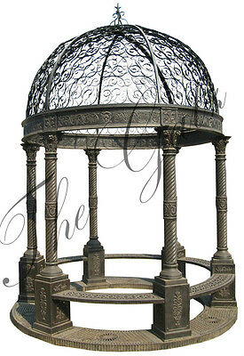 "Victorian Style Cast Iron Gazebo with Wrought Iron Dome,Bench Seating, 169"" Tall"