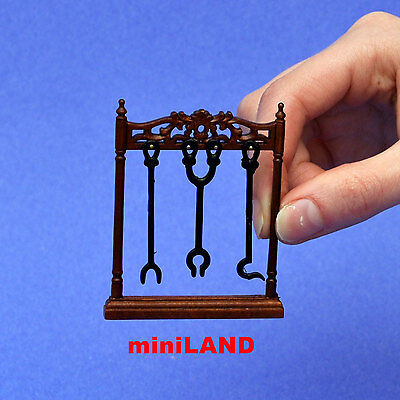 "fireplace tools stand for DollHouse  miniature1:12 wood quality 2""W x 2.5""H"