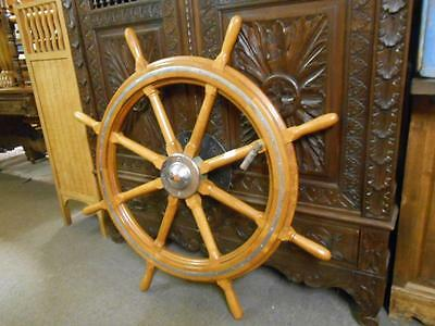 Nautical Very Large 51 Inches European Ships Wheel Wood and Brass From France
