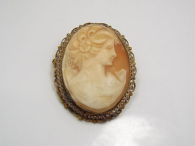 Vintage Helmet Shell Cameo in Gold Tone Frame Pin Pendant