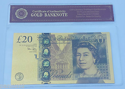 Colourised £20 GBP 24K Gold Plated Banknote With *COA* (n25c)