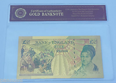 Colourised £5 GBP 24K Gold Plated Banknote With *COA* (n23c)
