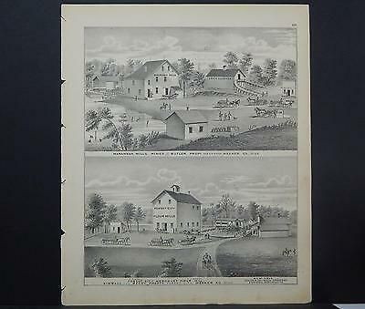 Minnesota, County Map, 1874 Engraving #24 Meeker County