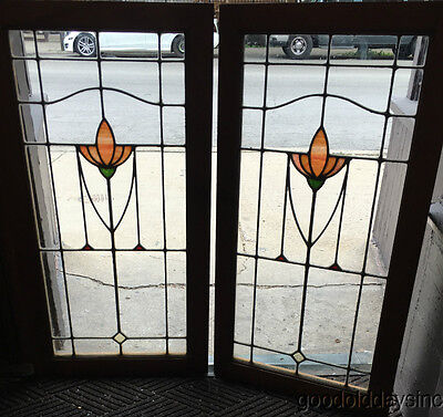 2 of 3 Antique Stained Leaded Glass Oak Wood Bookcase Cabinet Doors / Windows