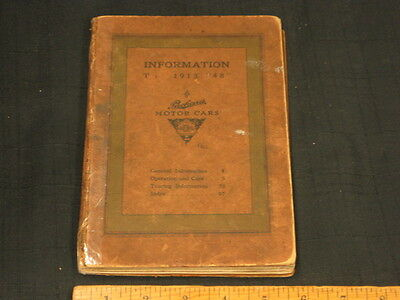 1913 Packard Model 48 Car Owners Manual w/ Lubrication Chart