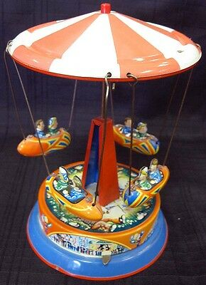 VINTAGE Blomer & Schuler Germany Tin Wind-up Carousel Merry-go-round
