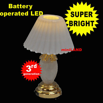 Table  SUPER bright battery LED LAMP Dollhouse miniature light WH on/off switc