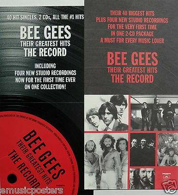 "Bee Gees ""greatest Hits - The Record"" U.s. Promo 2-Sided Poster / Banner"