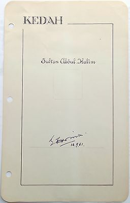Abdul Halim Sultan Of Kedah, The King Of Malaysia Autograph 'Rare' Signed Page