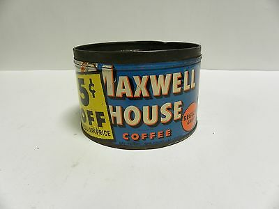 Vintage Maxwell House Coffee Tin Regular Grind 5 cents Off 1 lb. Can (A4)