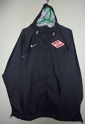 "Nike Spartak Moscow Black Football Training Zip Up Rain Jacket Xl 45-46""-Bnwt"