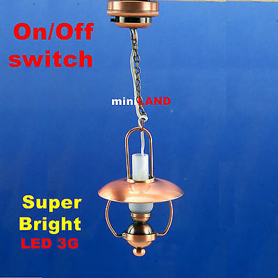Copper Hanging Oil SUPER bright battery LED LAMP Dollhouse miniature light on/of