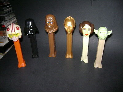 Pez Figures Lot Of 6 Star Wars Darth Vader C3Po Chewy Yoda & More
