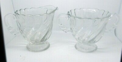 Vintage Clear Glass Swirl Cream & Sugar Set 2 of 5