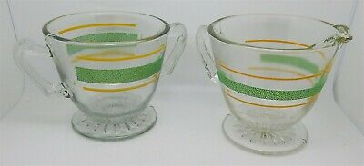 Vintage Retro Green Textured & Yellow Stripe Cream & Sugar Set # 5 of 5