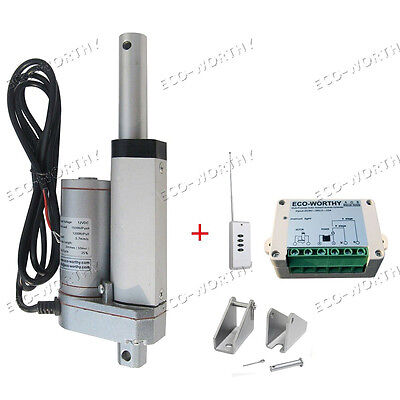 """2"""" 12V Linear Actuator W/ Remote Control for 330lbs for Auto Window Door Opener"""