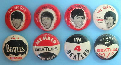 Beatles 1964 Original 8 Different Pinback Buttons #153