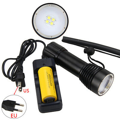 Waterproof 100m 4000LM 4x XM-L2 LED Photograph Video Lamp 26650 Light+Charger