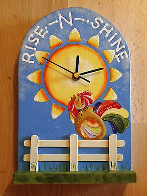 Lovely Decorative Handcrafted and painted Clock RISE--N--SHINE