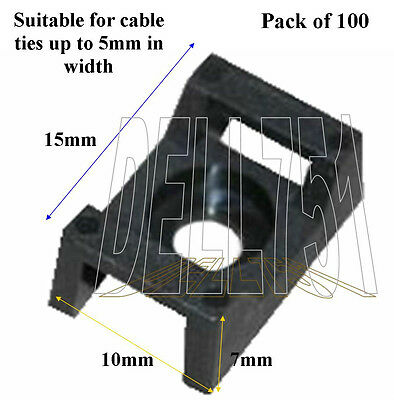 Screw down cable tie base (5mm tie)  (Pck/100)   A/CA3