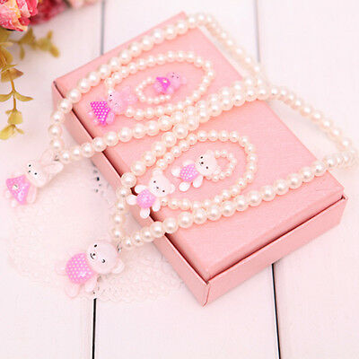 New Beautiful Bowknot Pearl Necklace and Bracelet for Girl Children Jewelry Set