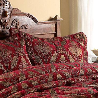 Traditional Chenille Pillow Sham - Gold & Red Pillow Case - 50 X 75 Cm