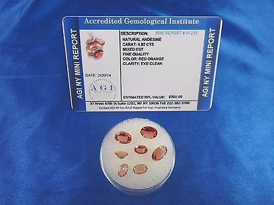 Natural Red Orange Andesine Lot 4.82 Cts Certified Appraisal $300 AGI AN11