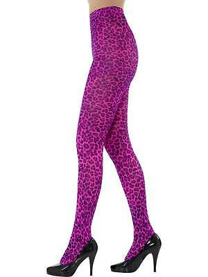 Leopard Print Tights, Pink, One Size, Womens