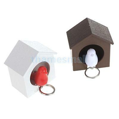 1pc Birdhouse Bird Sparrow Whistle Key Holder w/ Keyring Wall Decoration Gift