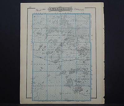 Minnesota Antique County Map 1874 County of Kandiyohi L18#77