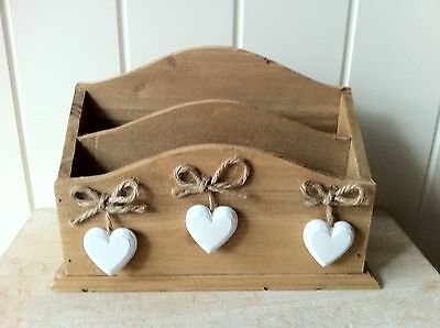 Letter Rack Chic & Shabby 3 White Hearts Post Storage Holder Sass & Belle