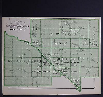Minnesota Antique County Map 1874 #3 Counties of Swift, Chippewa & Lac Qui Parle