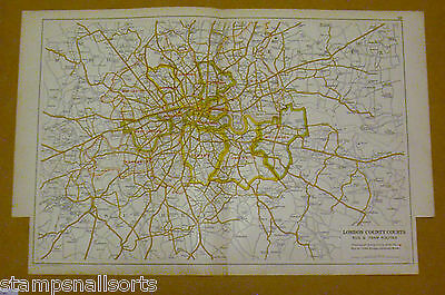 Original Coloured Map Ex BACON'S LONDON & SUBURBS 1926 - London County Courts