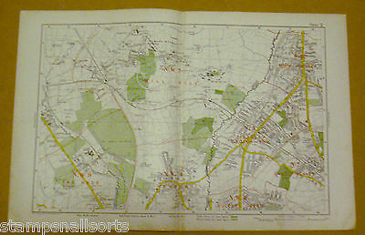 Original Coloured Map Ex BACON'S LONDON & SUBURBS 1926 Mill Hill to Finchley #2
