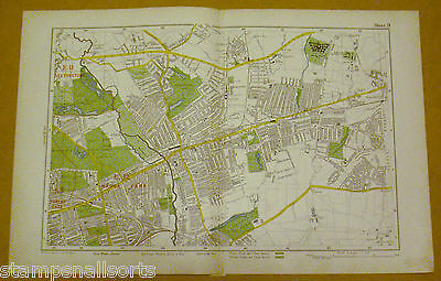 Original Coloured Map Ex BACON'S LONDON & SUBURBS 1926 Forest Gate - Chadwell #9