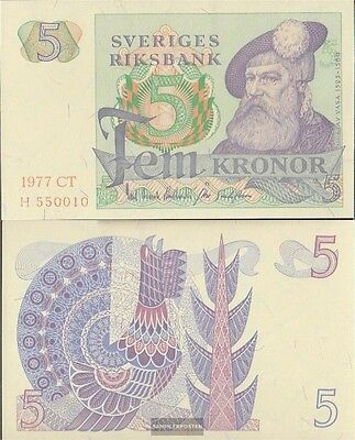 Sweden Pick-number: 51d (1977) uncirculated 1977 5 Kronor